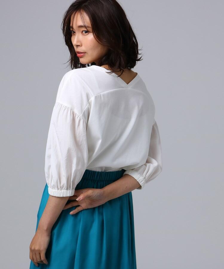 [L]異素材ふっくら袖プルオーバー