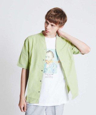 キュプラ×コットンポプリンVネック半袖シャツ