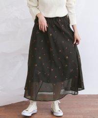 【セットアップ対応商品】【KBF】オーガンジー刺繍バイアススカート