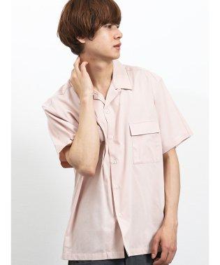 ポケット付きオープンカラー半袖シャツ