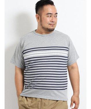 【大きいサイズ】グランバック/GRAND-BACK 抗菌消臭 前身ボーダークルーネック半袖Tシャツ