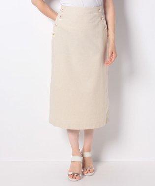 サイドボタン付きロングタイトスカート