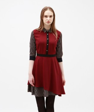 ◆◆ストライプ コンビ シャツカラードレス