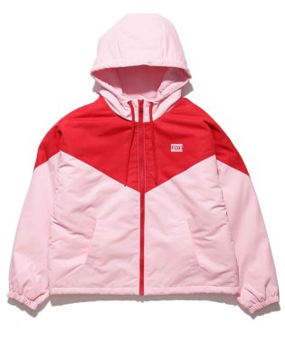 COLOUR BLK SHORT BOMBER PALE PINK / RED