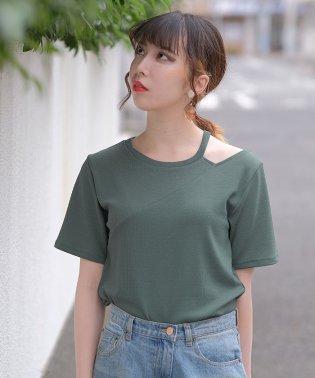 肩開きテレコTシャツ