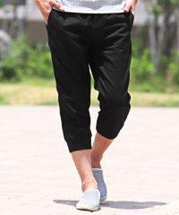 綿麻リブクロップドイージーパンツ/クロップド パンツ 7分丈 ジョガーパンツ メンズ 綿 麻