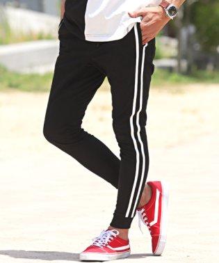 ポンチサイド2ラインジョガーパンツ/ジョガーパンツ メンズ サイドライン 2本 ポンチ スウェット