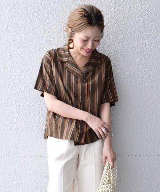 Khaju:ストライプオープンカラーシャツ