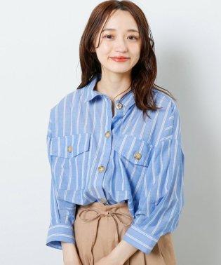 綿ローンストライプオーバーシャツ
