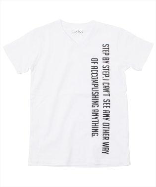 縦ロゴプリントVネック半袖Tシャツ