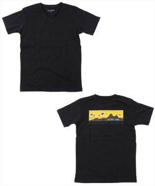 バッグボックスプリントVネック半袖Tシャツ