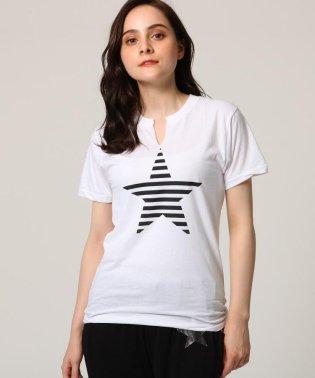 【洗える】デザインネックプリントTシャツ