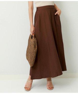 綿麻レーヨンツイルフレアマキシスカート