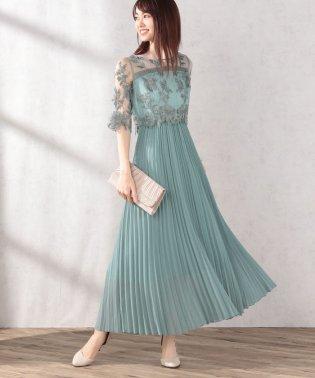 刺繍×オーガンジープリーツドレス
