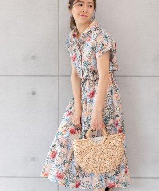 花柄フレンチシャツワンピース