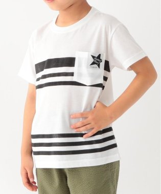 【90cm~160cm】【接触冷感】ボーダープリントポケット付きTシャツ