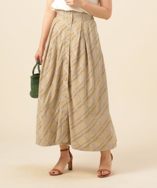 【Hamac】チェック前ボタンマキシスカート