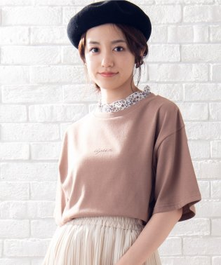 WEGO/フラワーフリルネックロゴTシャツ