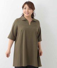 【大きいサイズ】オープンカラーシャツチュニック