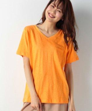 【E hyphen world gallery/イーハイフンワールドギャラリー?】・スラブカラーVネックポケットTシャツ