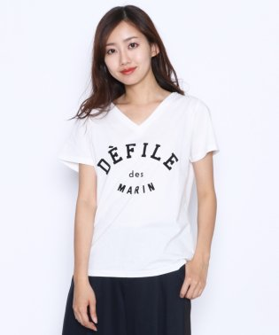[soeur7 スール] フロッキープリント DEFILE ロゴTシャツ