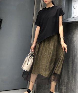 ラメレイヤードギャザーロングマキシスカート