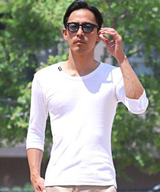 テレコ五分袖クルーネックTシャツ/Tシャツ メンズ 5分袖 7分袖 テレコ 伸縮性