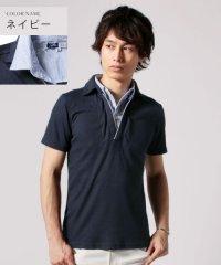 (スプ) SPU テレコ地半袖二枚襟ポロシャツ