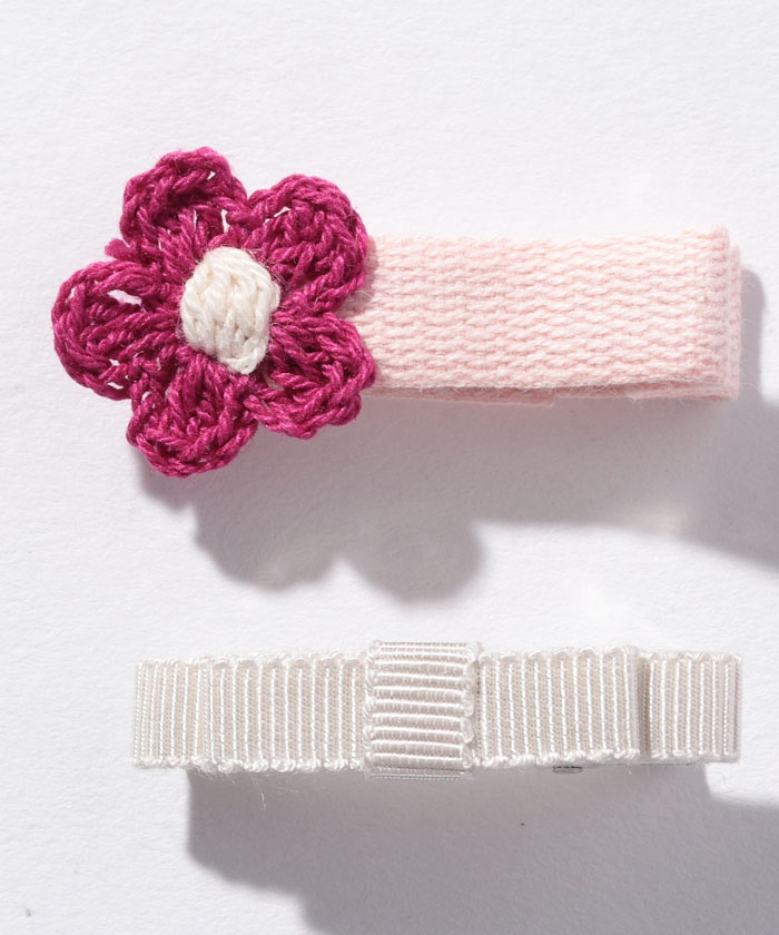 お花&リボンヘアクリップ2個セット
