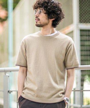 【WEB限定】バックメッシュ編み切替えニットTシャツ