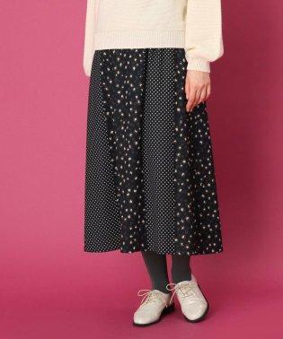 【手洗い可】レオパードドットプリント ロングスカート