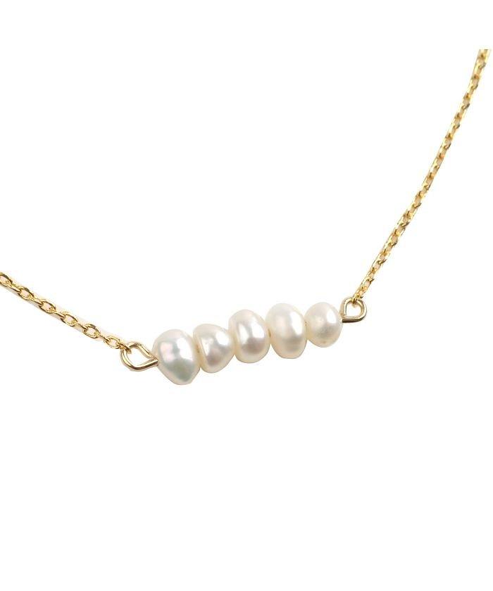(cream dot/クリームドット)ナチュラルな艶めき、5連淡水パールのネックレス/レディース ゴールド
