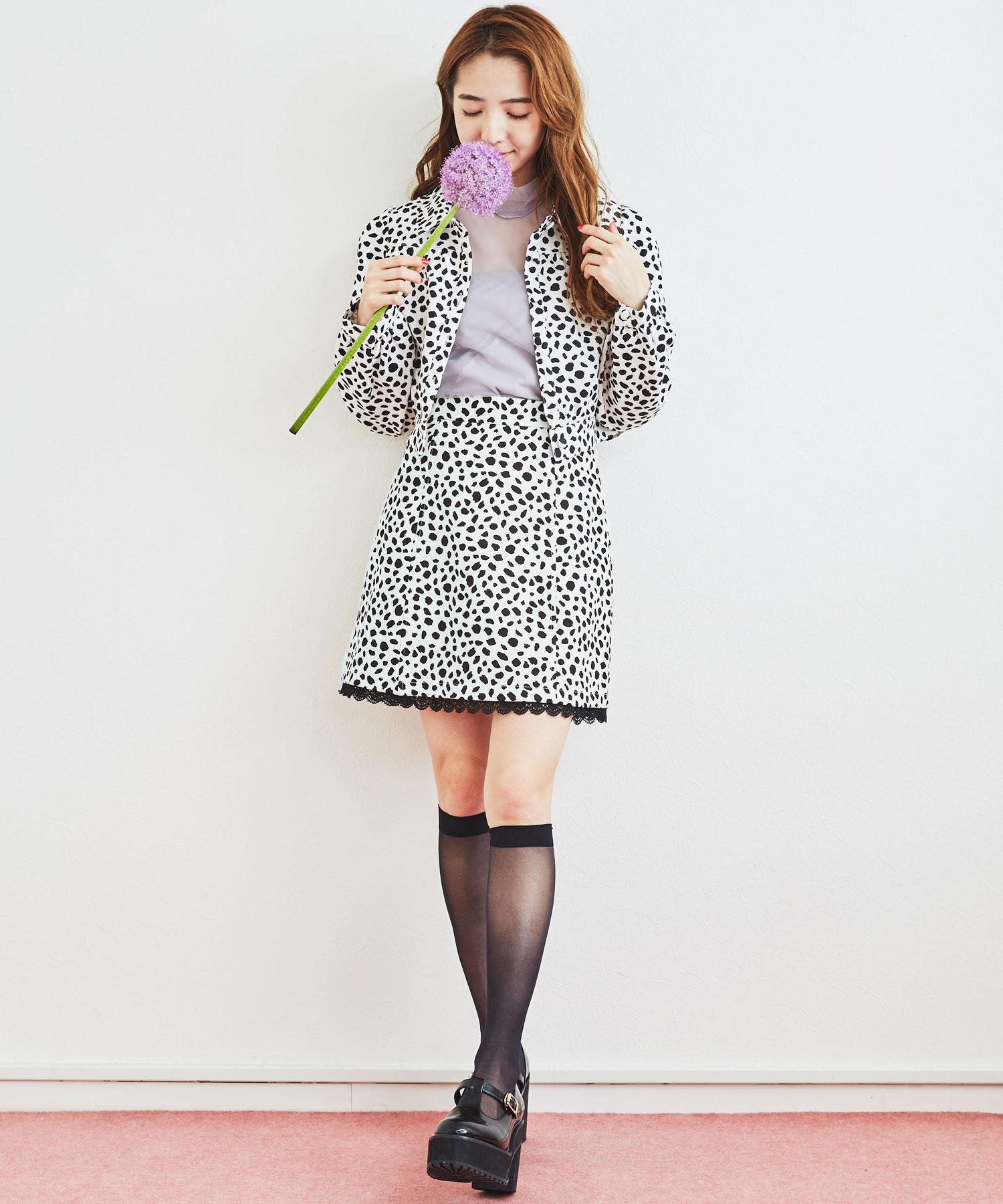 【セットアップ対応商品】ダルメシアン柄スカート