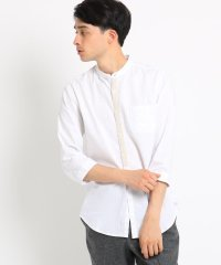 綿麻バンドカラーシャツ
