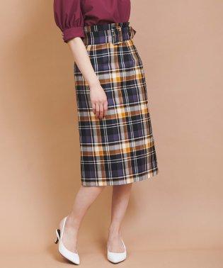 【美人百花10月号掲載】Bigバックルチェックタイトスカート