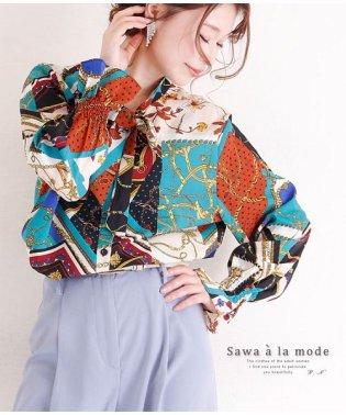 スカーフ模様のボウタイリボンシャツブラウス