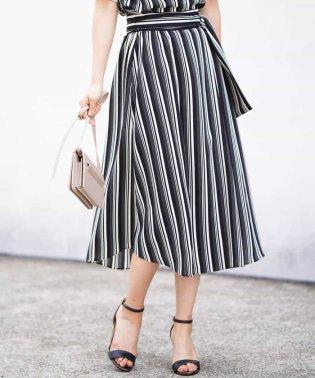 【洗濯機で洗える】ストライプ柄スカート
