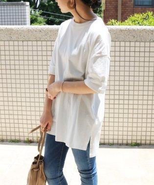 コットンオーバーサイズロールアップ半袖Tシャツ