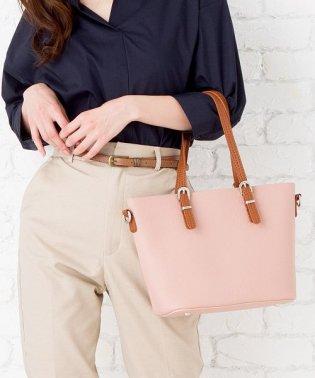 【2way】シンプルバイカラーハンドバッグ