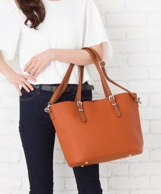 【2way】シンプルバイカラーワイドハンドバッグ