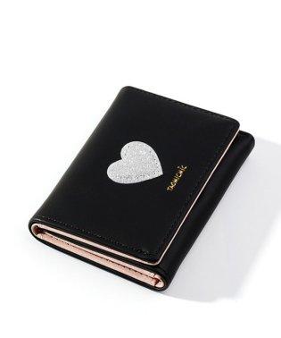 三つ折りハートモチーフ財布 レディース 短財布 3つ折り さいふ サイフ ミニ財布 ミニウォレット ウォレット 小銭入れなし カードケース カード入れ 収納 コ