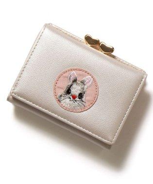 ラビット刺繍がま口財布 ウォレット 短財布 ミニ財布 三つ折り財布 レディース 札入れ 小銭入れ カード入れ カード収納 コンパクト バイカラー 動物 かわいい