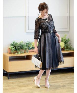 バックV×チュールスカート袖付きドレス