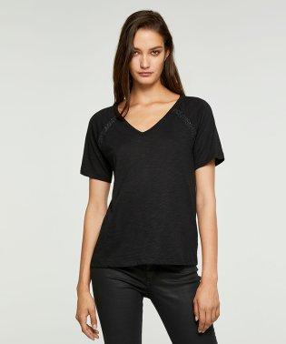 コットンモダールVネックラメ半袖Tシャツ・カットソー