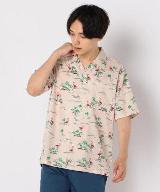 フラミンゴ柄アロハ オープンカラーシャツ