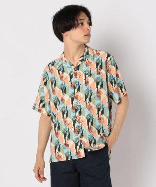オウム柄アロハ オープンカラーシャツ