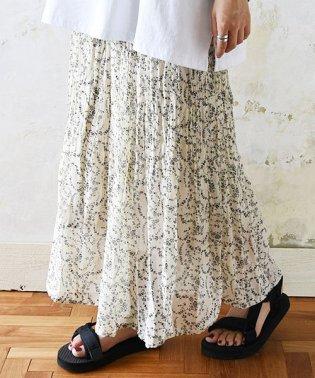 小花柄シフォンランダムプリーツスカート