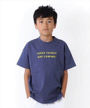 ドロップショルダーロゴプリント半袖Tシャツ