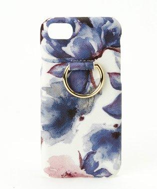 スマホリング付花柄 iPhoneケース 6.7.8対応 背面型 [フ゛ルーム]