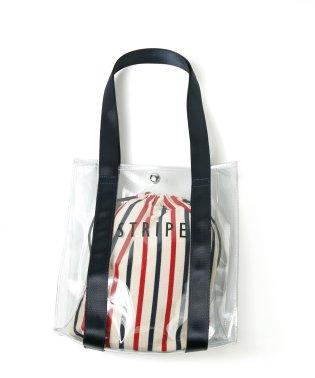 ストライプビニールトート 巾着付 E191048